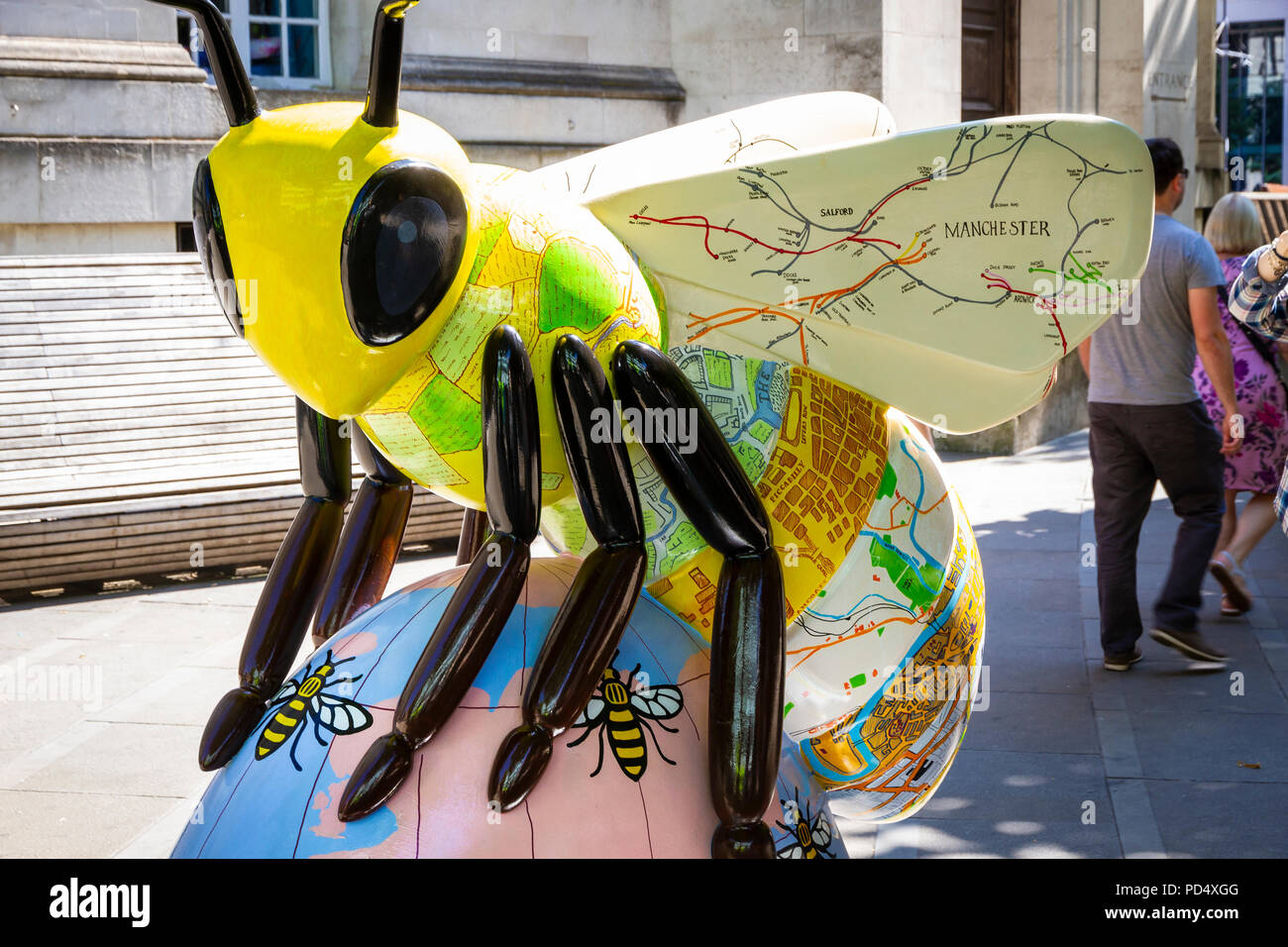 Map of the Worker Bees - Caroline Coates. Bee in the City, public art event in the City of Manchester. Over 100 bees on a free family fun trail. - Stock Image