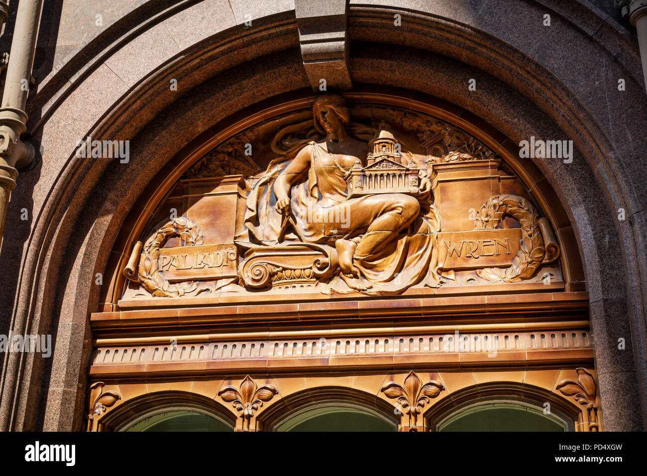 Architectural detail on the Midland Hotel, St Peters Square Manchester. - Stock Image