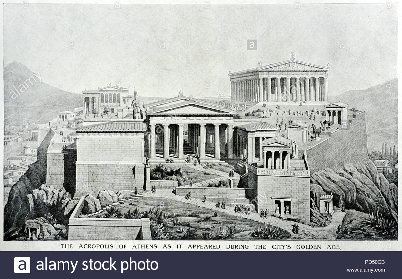 Acropolis of Athens, depiction of what it would have looked like during its Golden Age c450 BC, illustration from 1900 - Stock Image