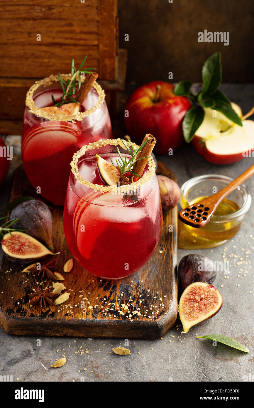Fall cocktail, fig and honey martini with thyme Stock Photo