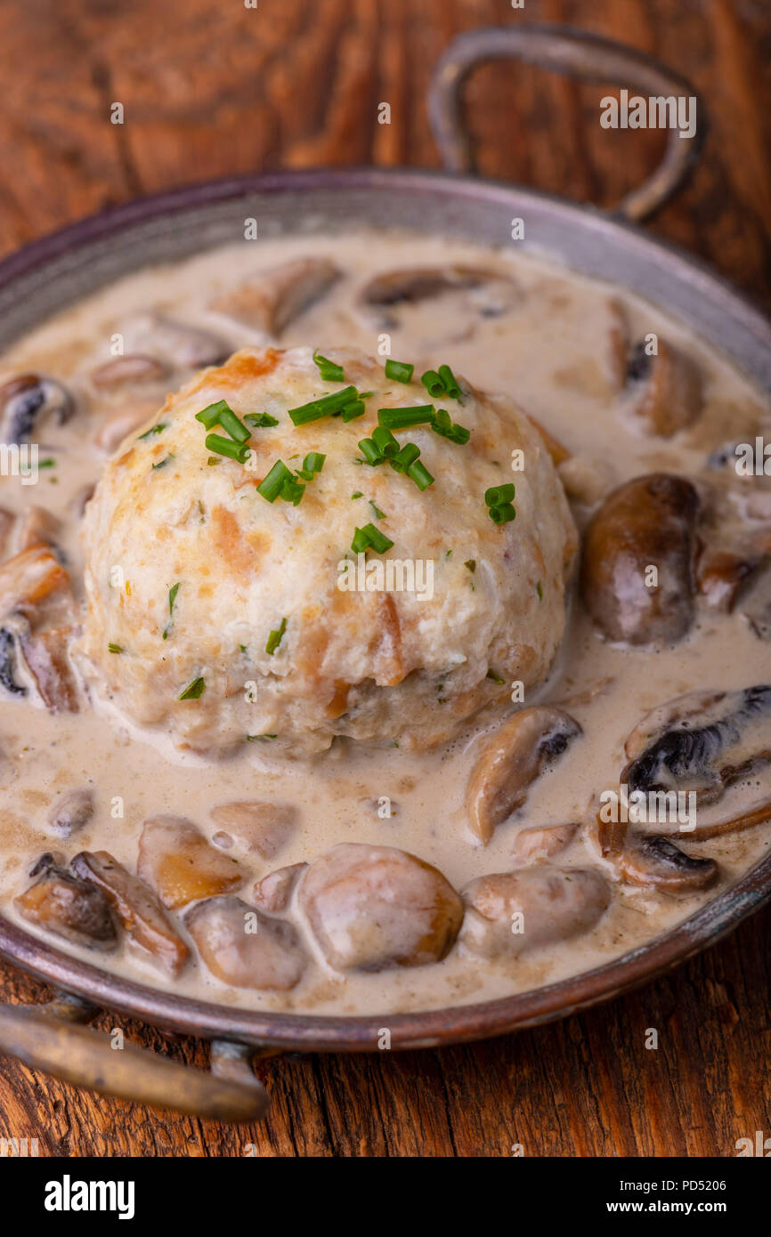 bavarian bread dumplings with a mushroom sauce - Stock Image