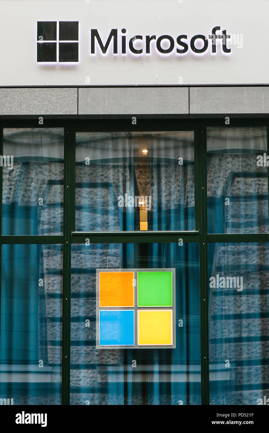 Berlin, Germany 15 February 2018: Microsoft Corporation or MS. Operating room of Windows system or multinational company on production of software for computer means and personal computers - Stock Image