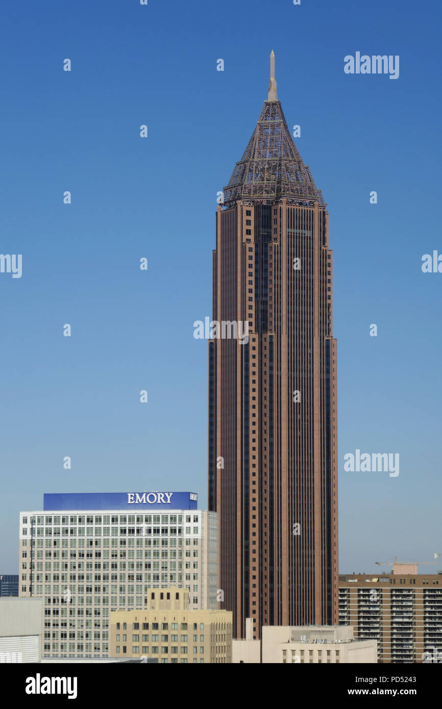 ATLANTA-GEORGIA-FEB 1, 2017: Bank of America Plaza is a skyscraper located in between Midtown Atlanta and Downtown Atlanta - Stock Image