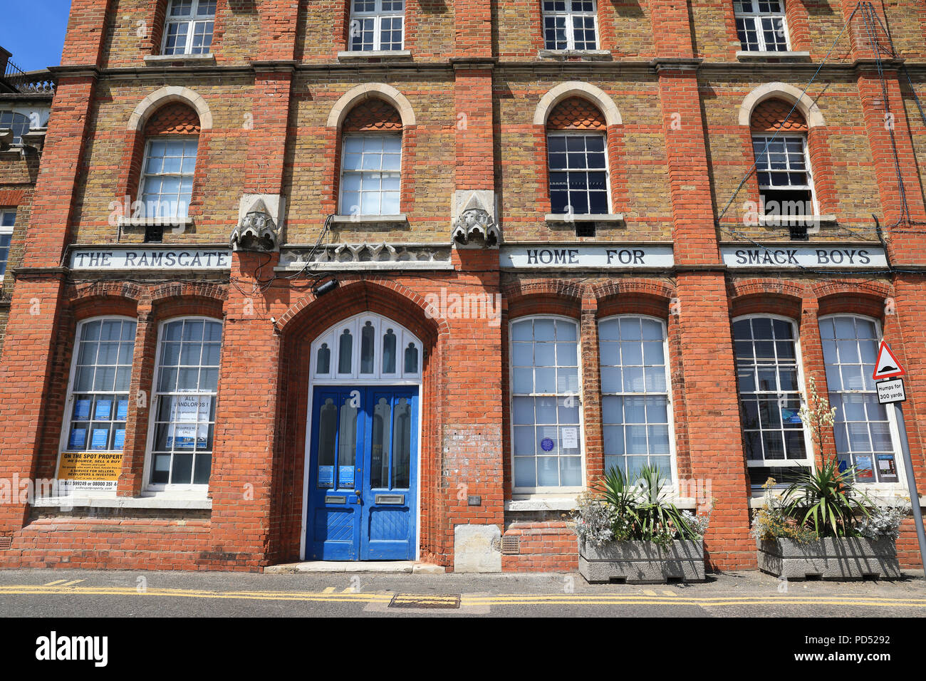 The Ramsgate Home for Smack Boys, or fishing apprentices, next to the Sailors' Church, on Ramsgate's harbour, on the Isle of Thanet, in Kent, UK - Stock Image