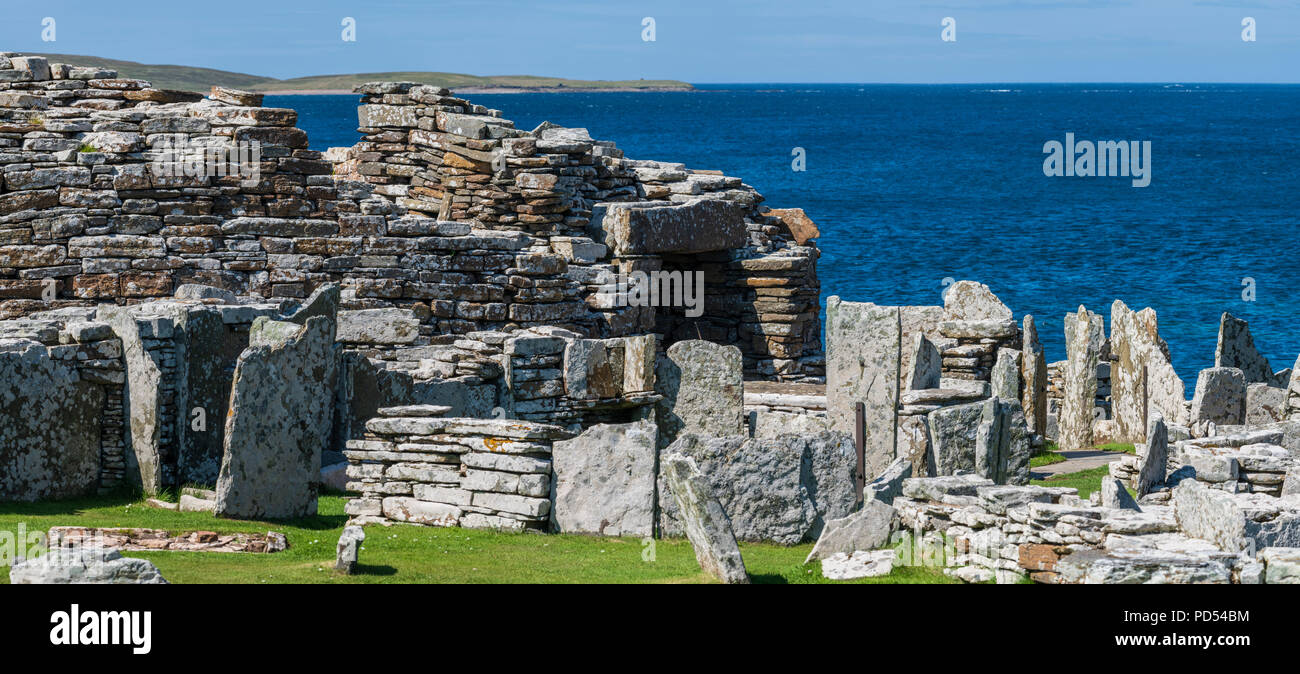 The Iron Age Broch of Gurness near Evie, Orkney - Stock Image