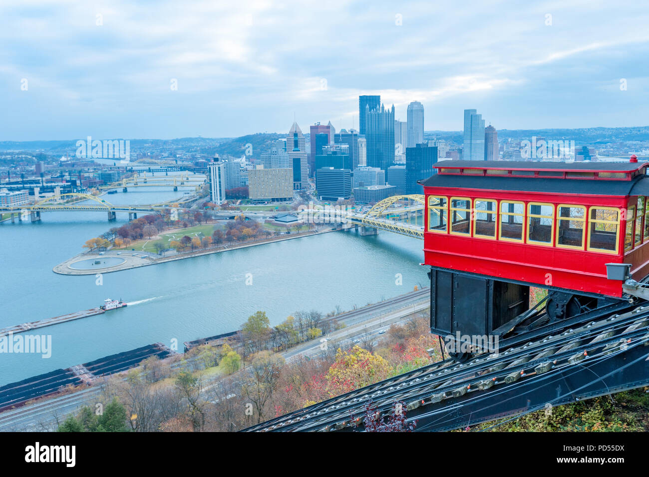 View of historic Duquesne Incline car and Pittsburgh panorama from the observation deck - Stock Image