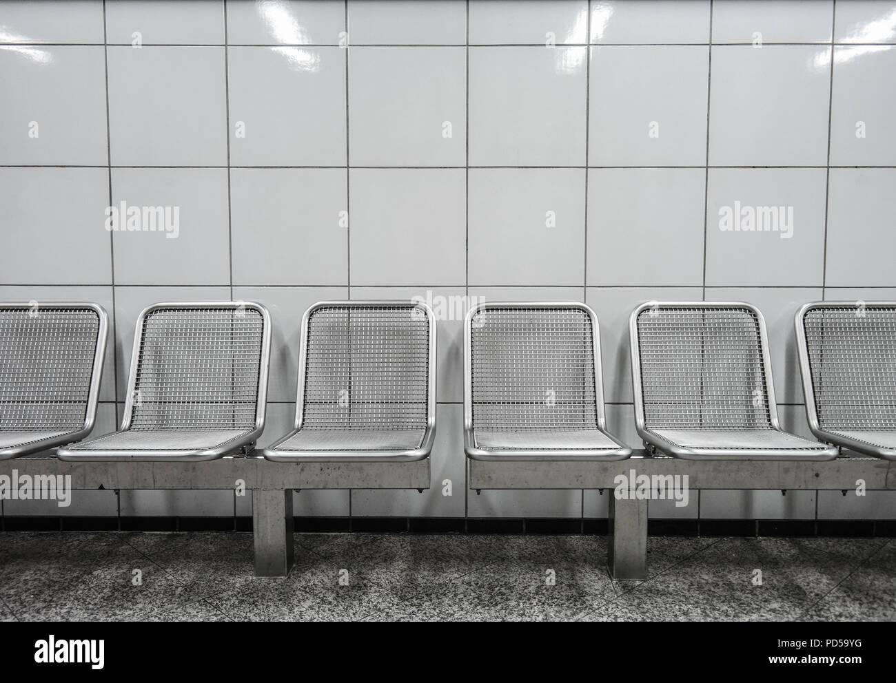 Berlin, U-Bahn, BVG, Sitze - Stock Image