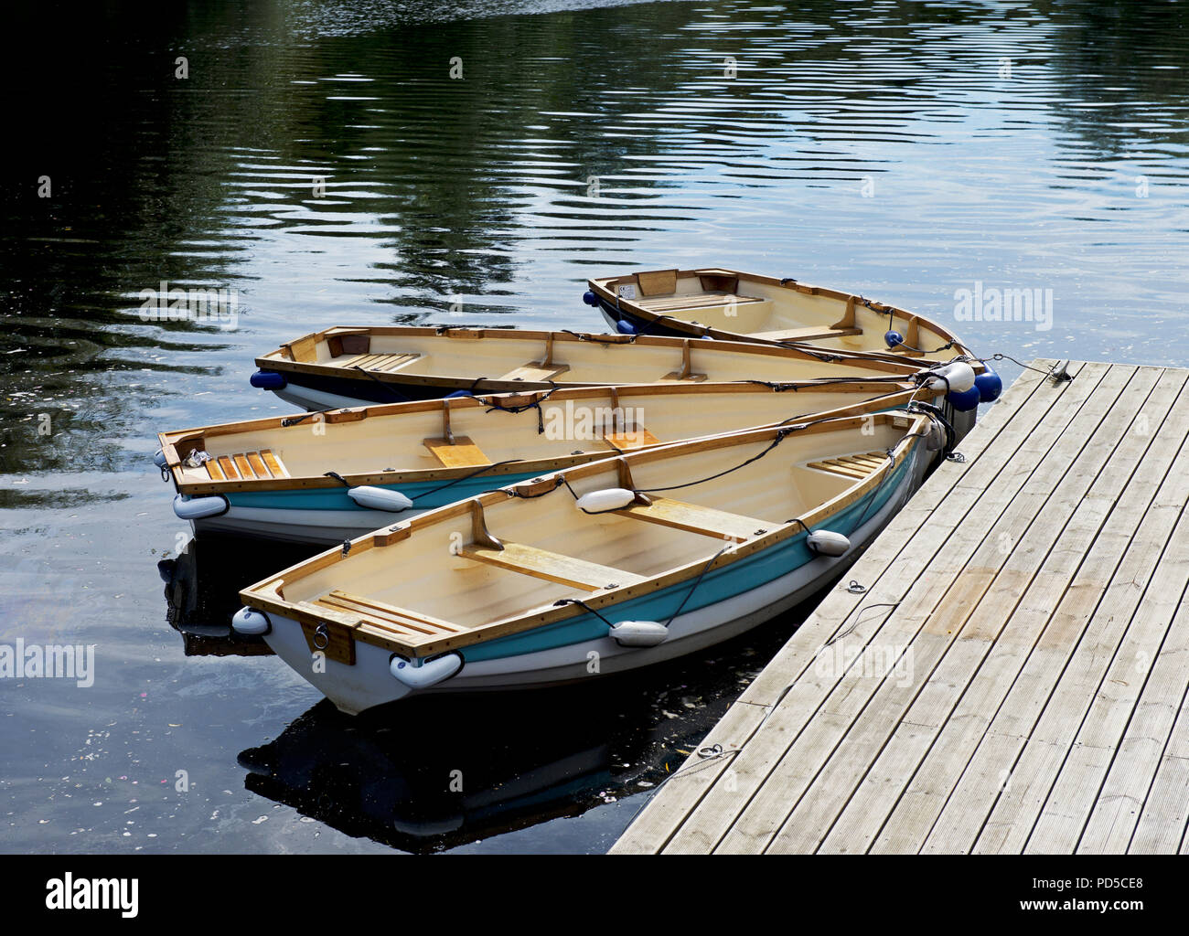 Dinghies for hire, River Tees, Yarm, North Yorkshire, England UK - Stock Image