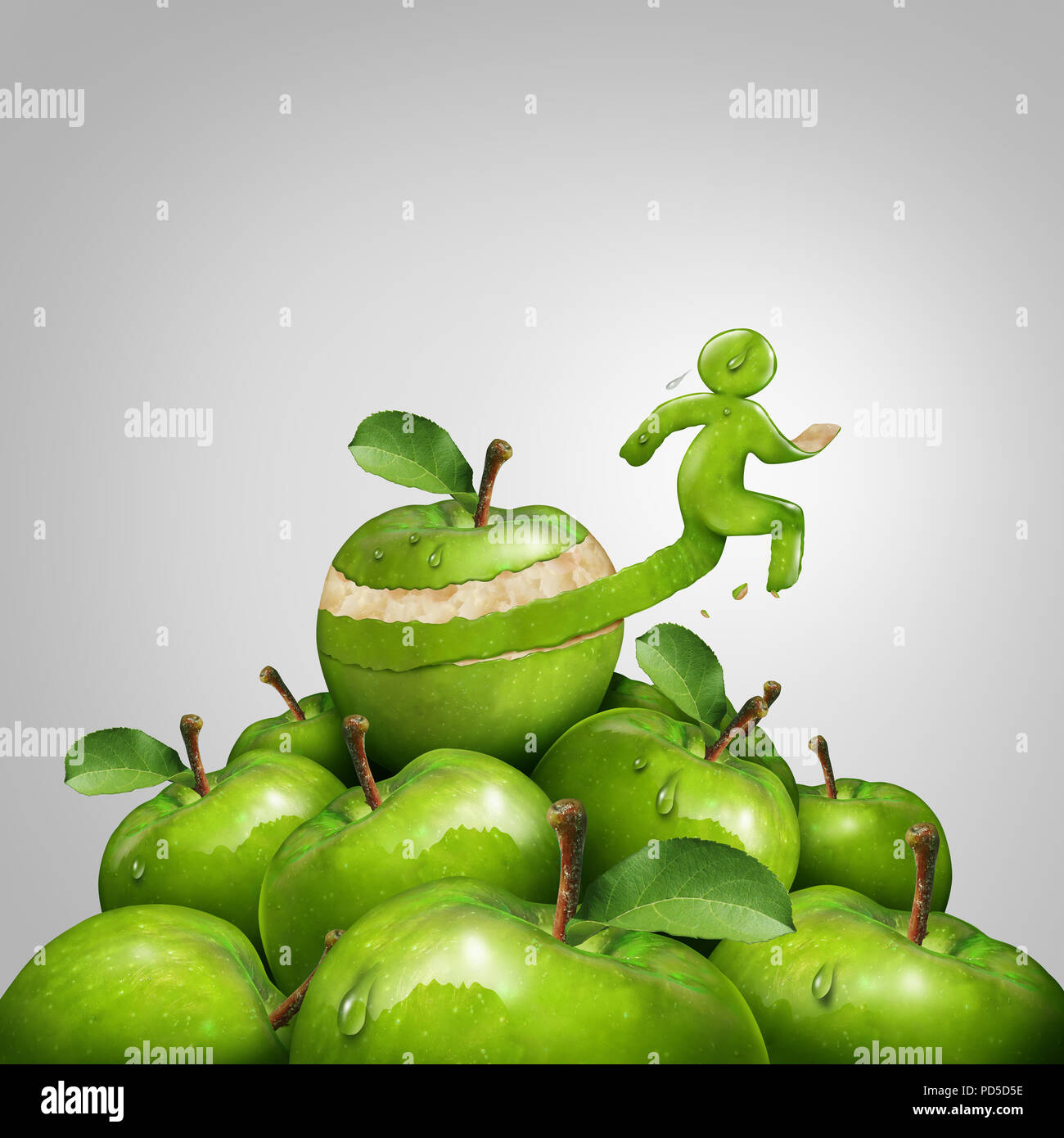 Fitness and weight loss concept as a vitality wellbeing idea through exercise and diet as an apple peel shaped as a runner or jogging person. - Stock Image