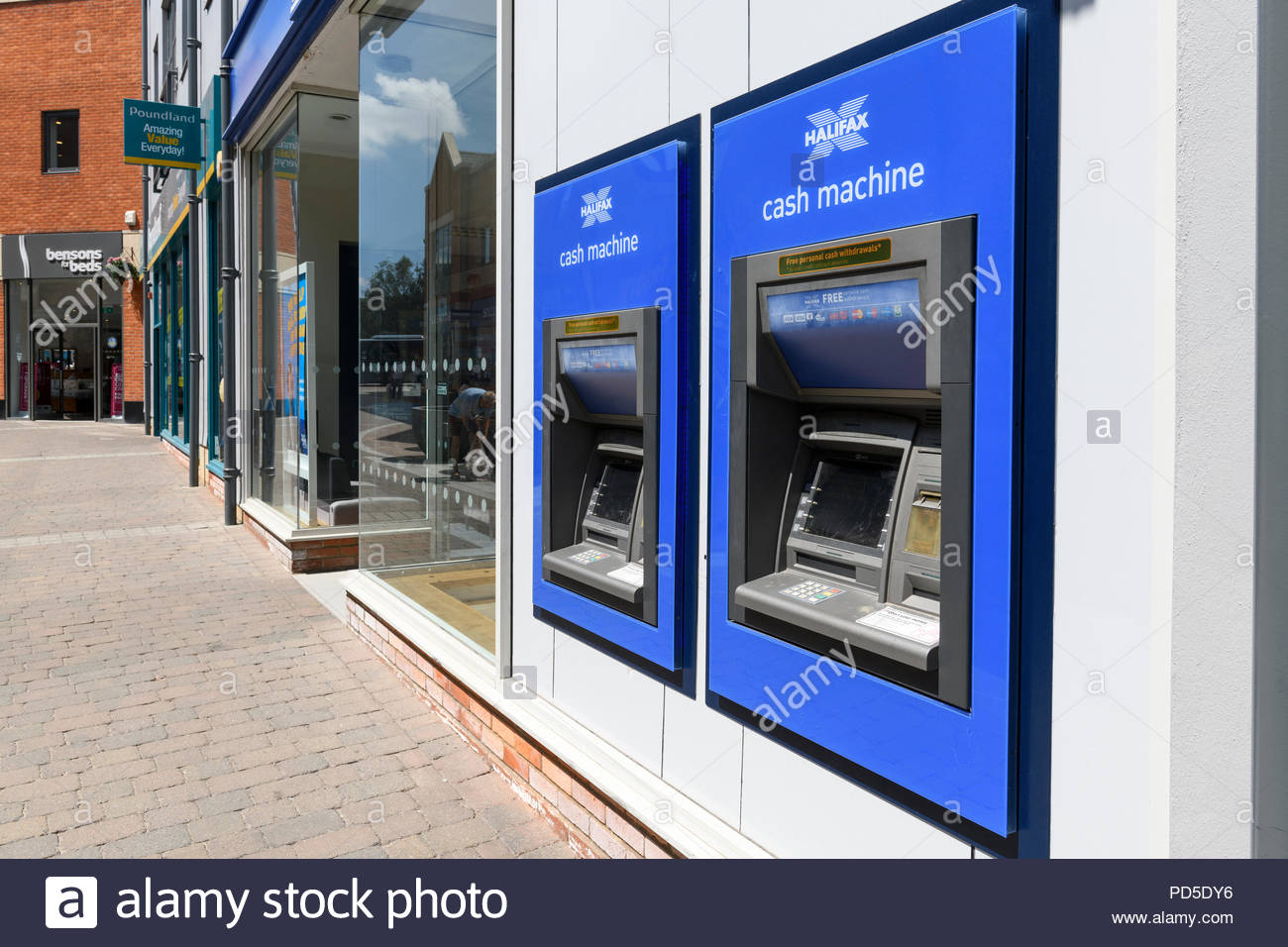 Bank ATMs, The Orchard Centre, Didcot, Berkshire, England, UK - Stock Image