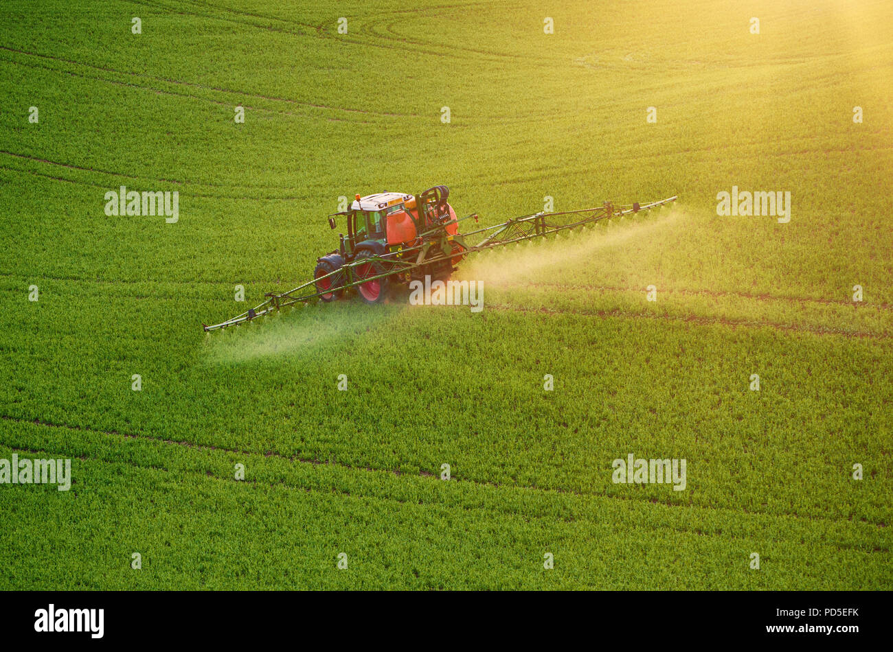Farm machinery spraying insecticide to the green field, agricultural natural seasonal spring background Stock Photo