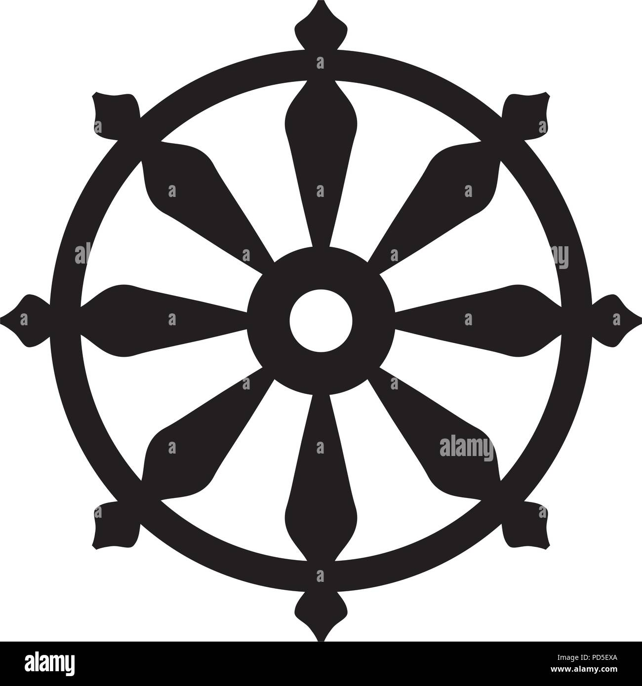 The Wheel of Samsara — Oriental Sacral Religious Symbol of Reincarnation: the cycle of death and rebirth to which life in the material world is bound. - Stock Vector