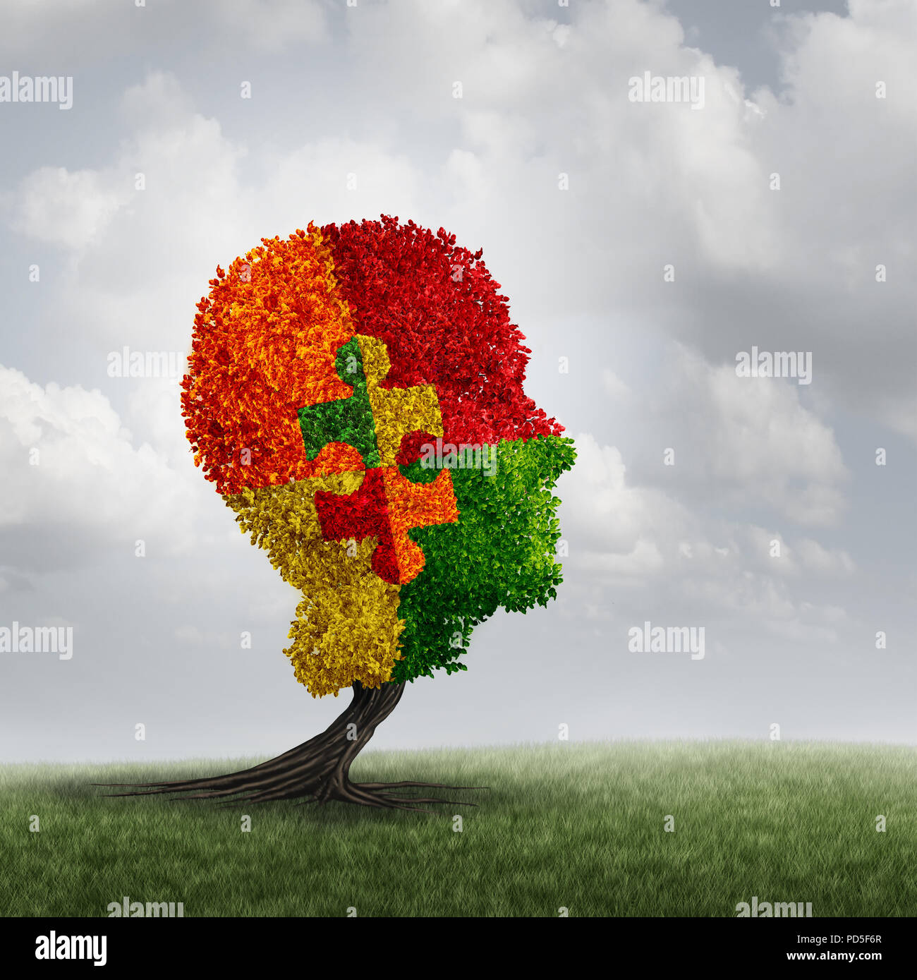 Autism awareness concept and autistic development disorder as a growing tree symbol of communication and the puzzle of social psychology. - Stock Image