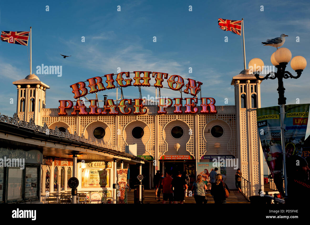 The famous Brighton Palace Pier on England's south coast changed its name in 2018 to Brighton Palace Pier, a combination of its two previous names. - Stock Image