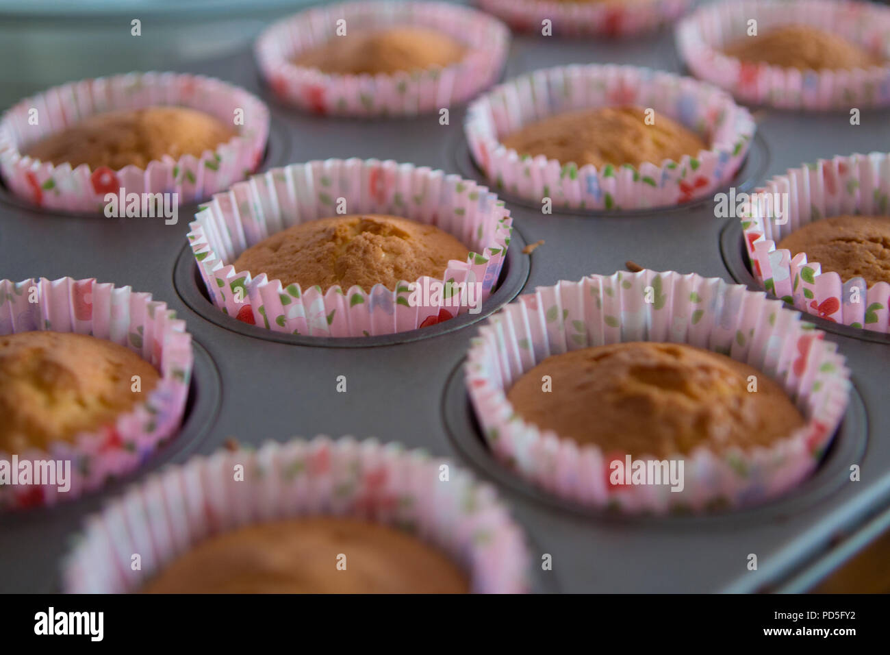 Mums homemade carrot cupcakes with cream cheese filling. - Stock Image