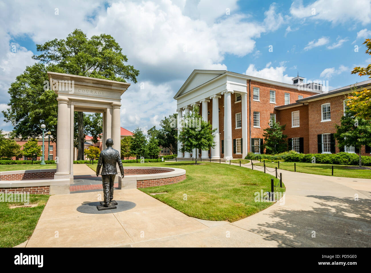 Civil Rights monument  honoring James Meredith at the University of Mississippi, Ole Miss, in Oxford, Mississippi, USA. - Stock Image