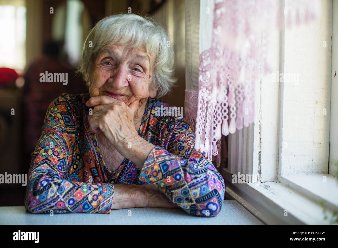 Portrait of an elderly woman, close-up, 80-90 years old. - Stock Image