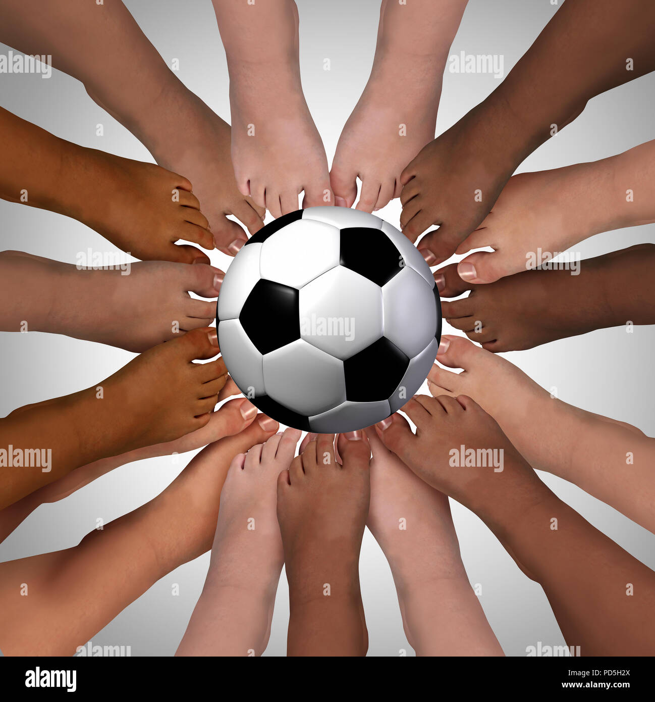 Diversity sport friendship standing together playing a team activity with 3D render elements. - Stock Image