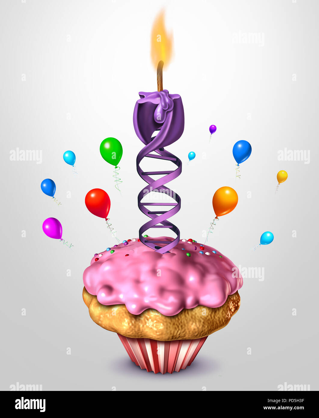DNA aging science and health concept age reversal or human life longevity biology concept as a 3D render. - Stock Image