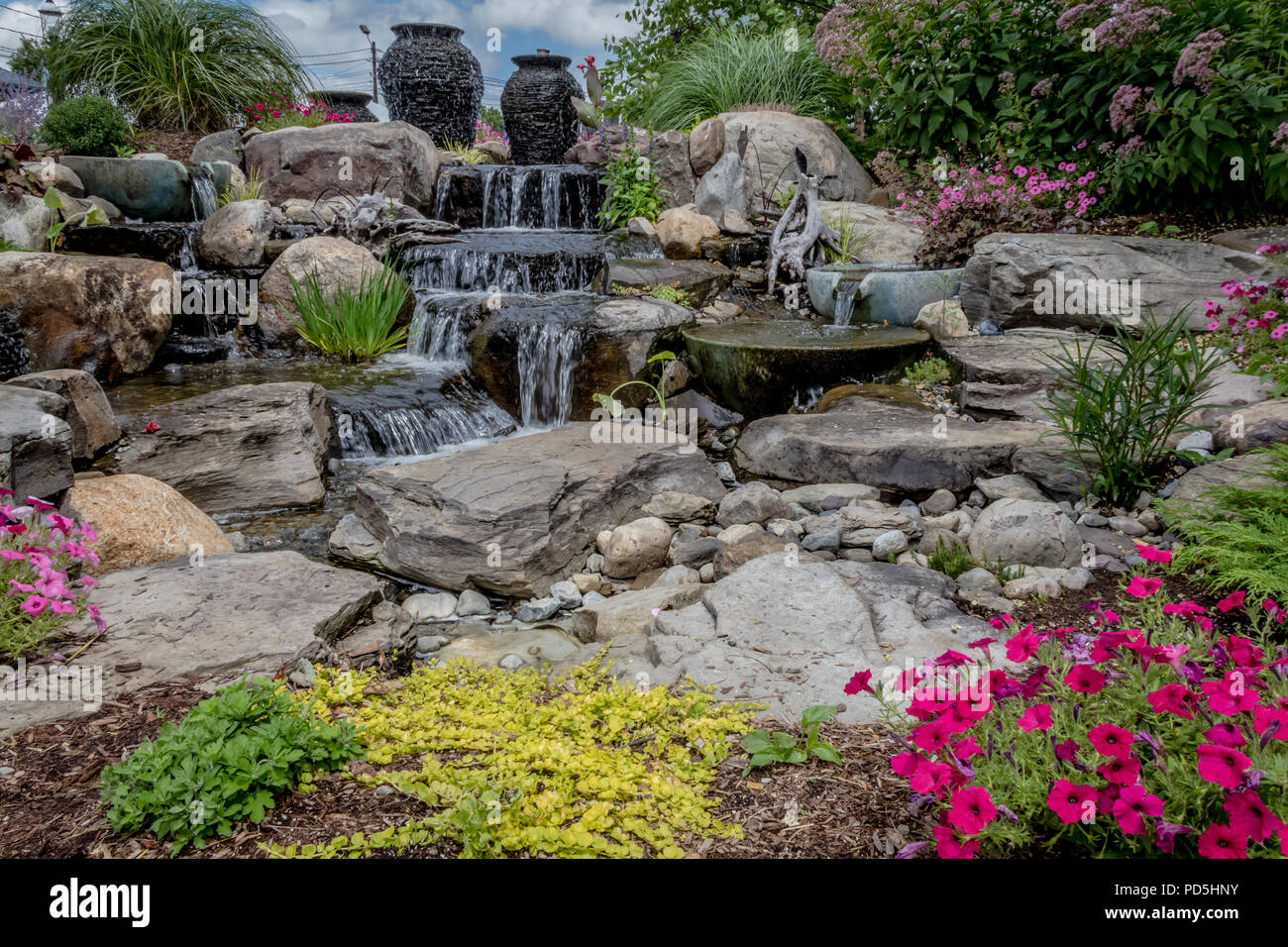 Landscape Architecture With Water Features For Summer Garden   Stock Image