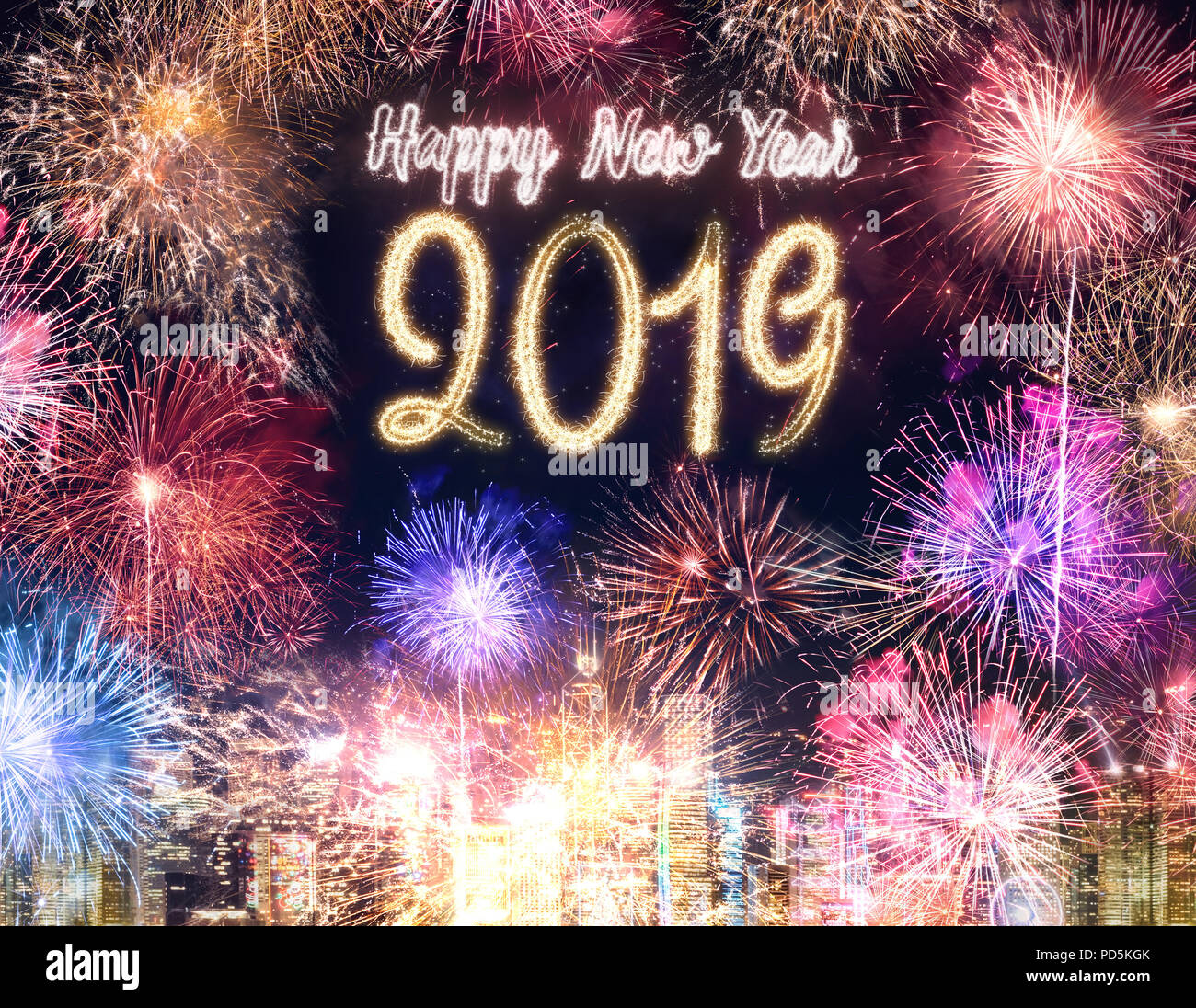 Happy New Year 2019 Firework Over Cityscape Building At Night Time  Celebration,Happy New Year Countdown.greeting Card