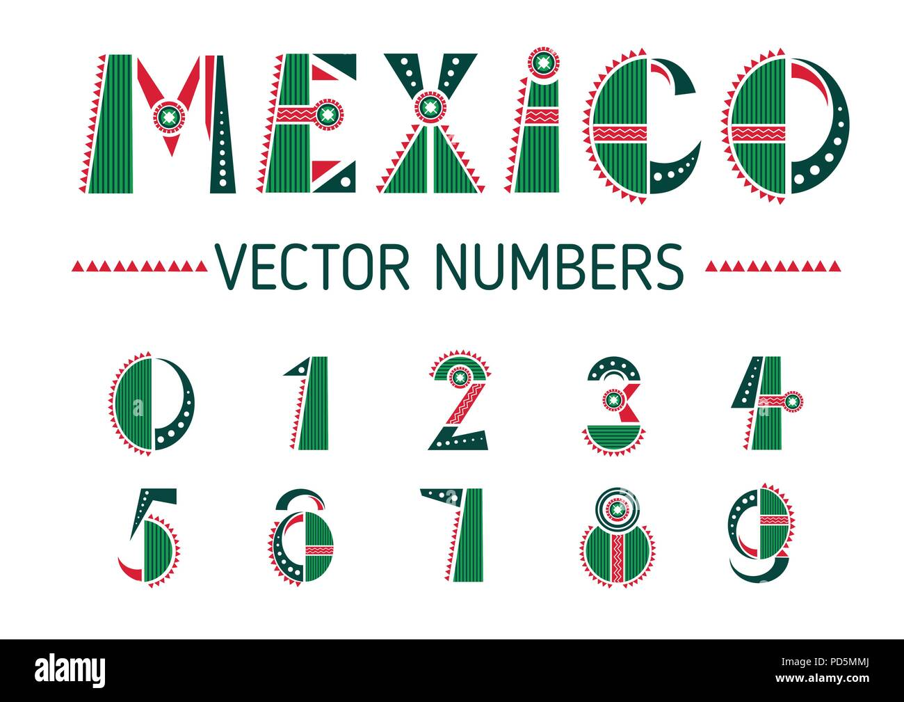 Mexico number set - Stock Image
