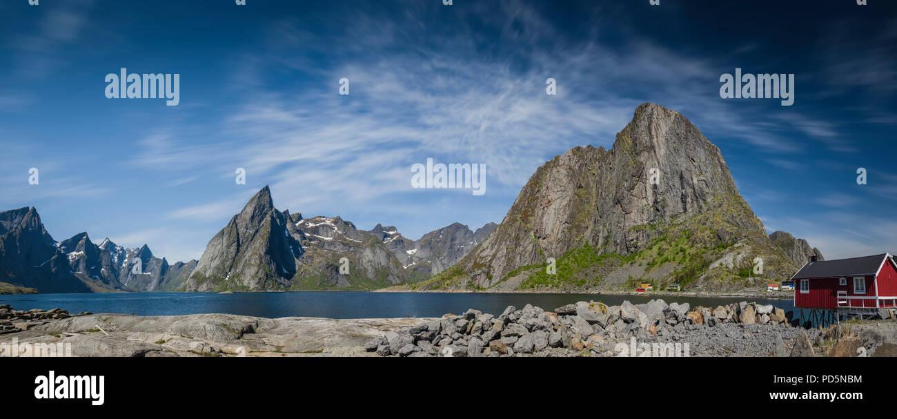 Mount Olstinden, Lofoten Islands, Norway. - Stock Image