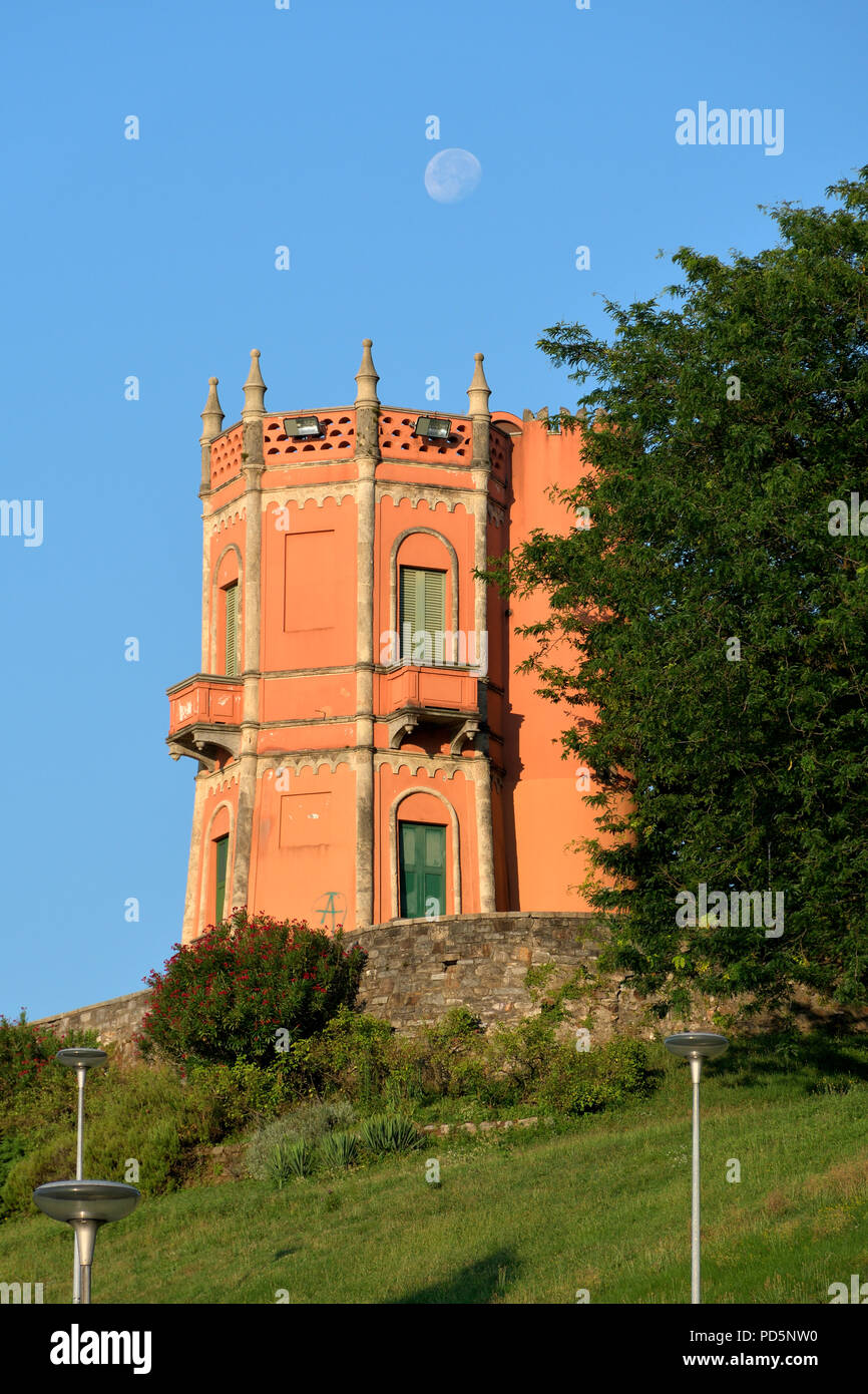 Tower of the Tessino park at dawn (Torre del Parco Tension) - Lugano Stock Photo
