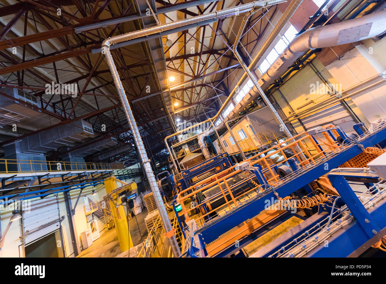 Manufacturing factory, wide-focus lens - Stock Image