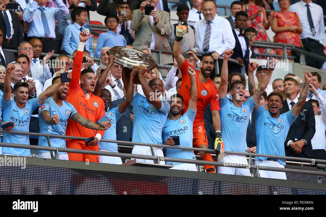 Mancheseter City celebrate winning the FA Community Shield match between Chelsea and Manchester City at Wembley Stadium in London. 05 Aug 2018 - Stock Image