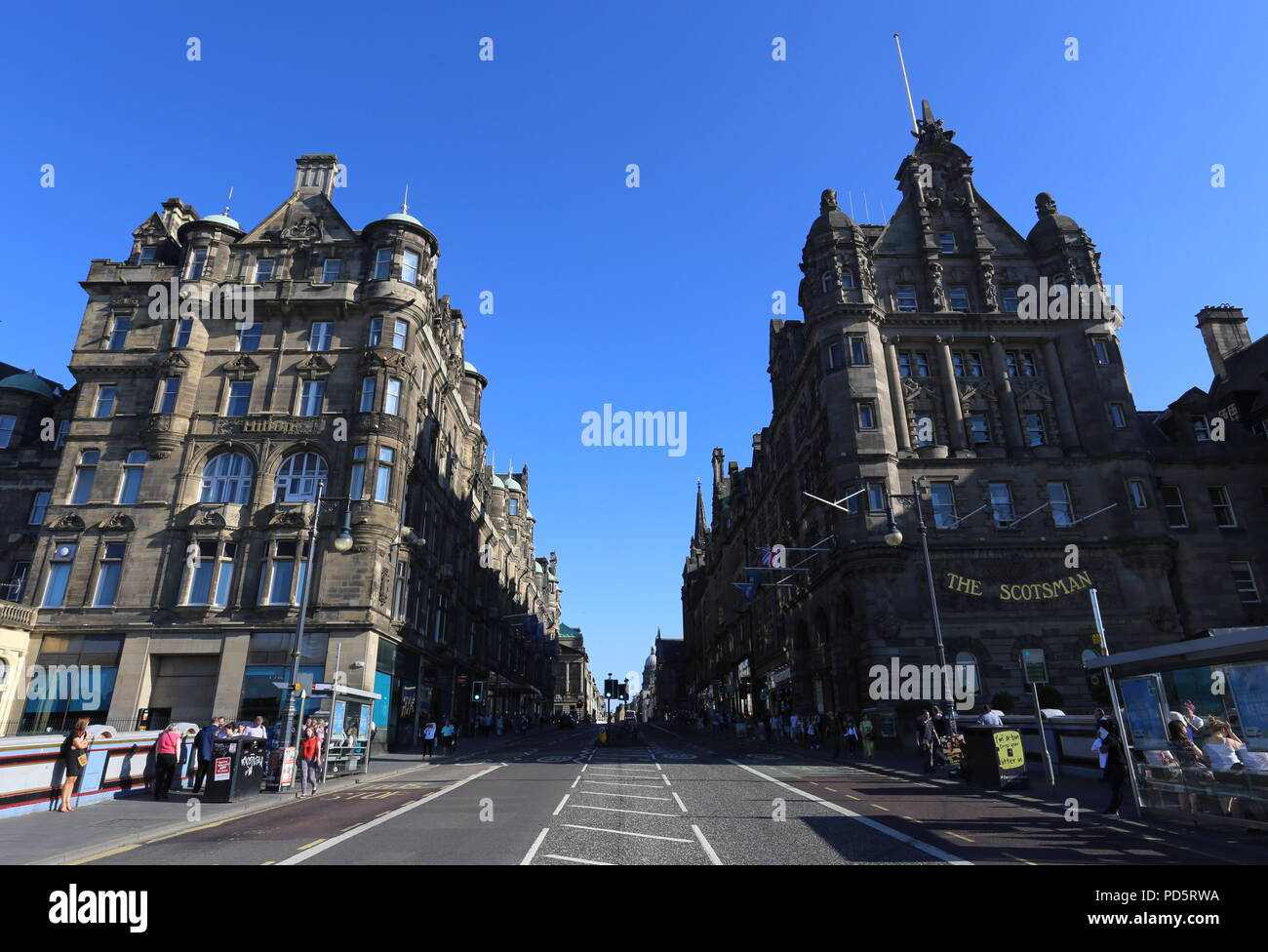 Exterior Of Hilton And Scotsman Hotels Edinburgh Scotland July 2018