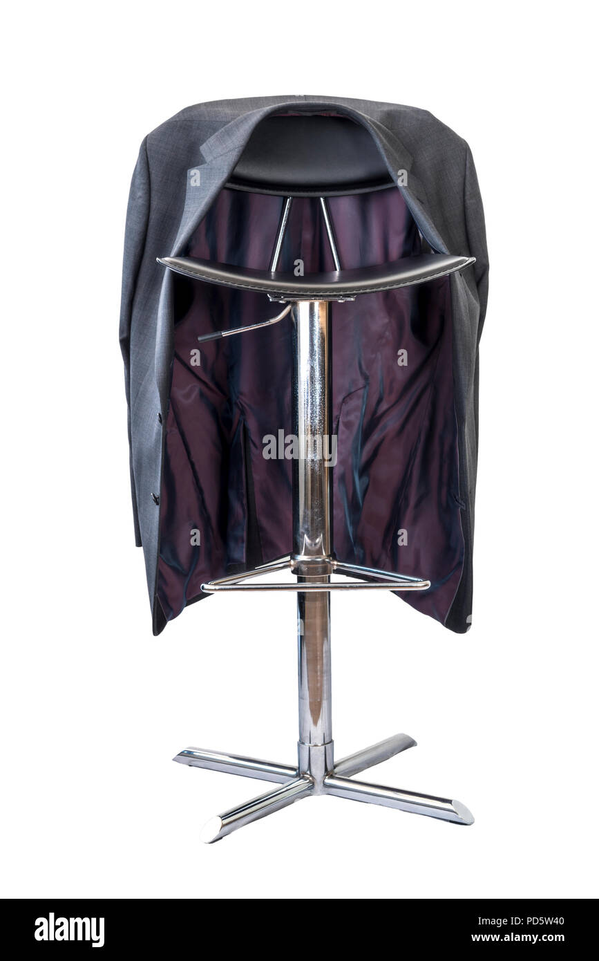 Black leather and chrome bar stool on a white background, with a mans suit jacket hanging on the back. - Stock Image