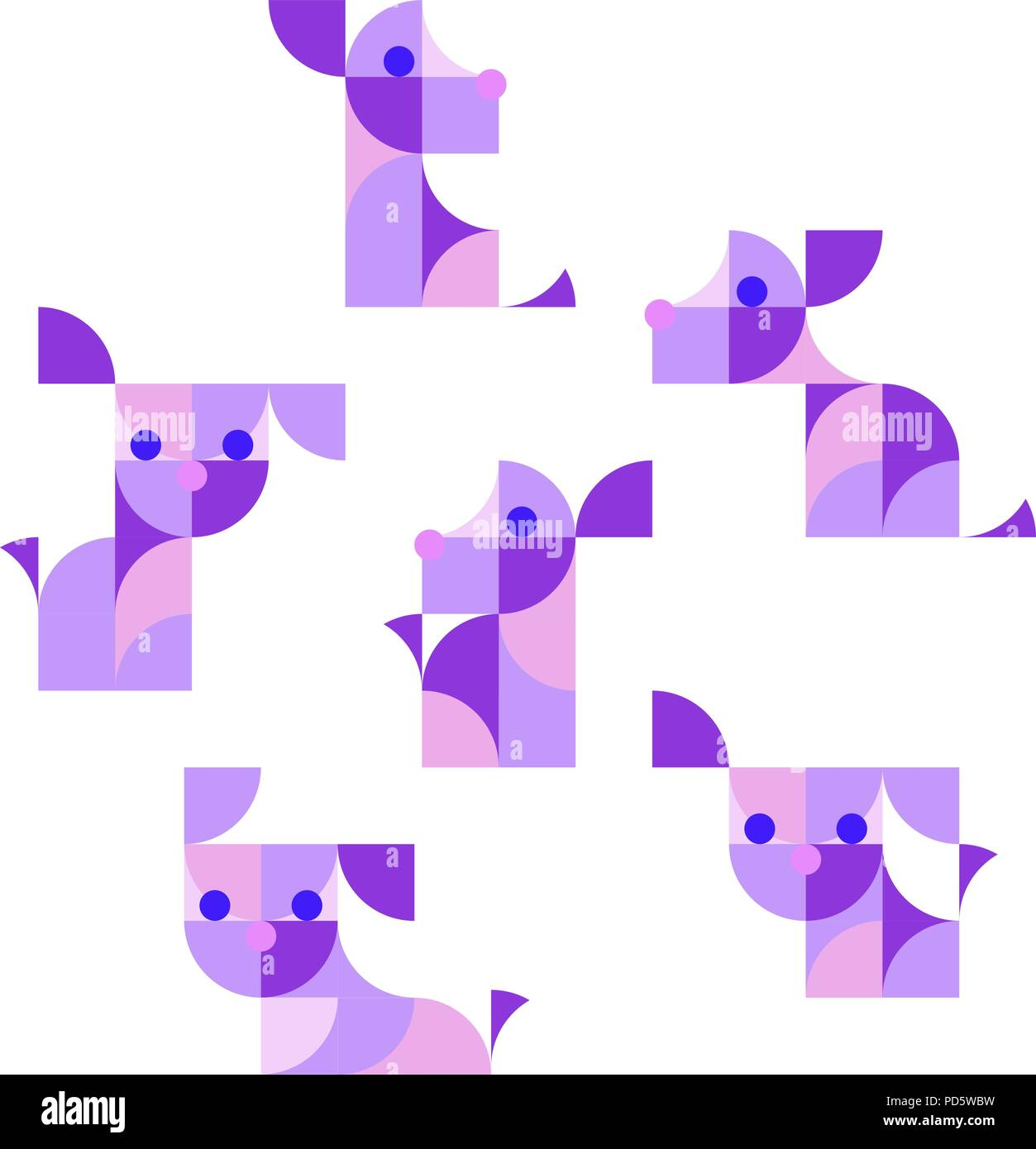 Nursery Childish Seamless Pattern Background with playing puppies. - Stock Vector