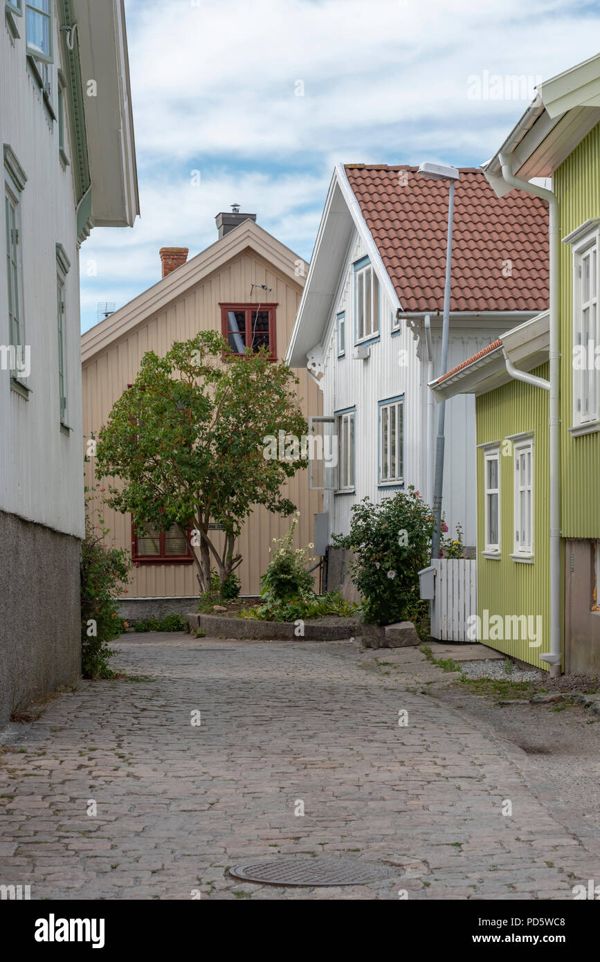Old part of Mollosund in Sweden - Stock Image