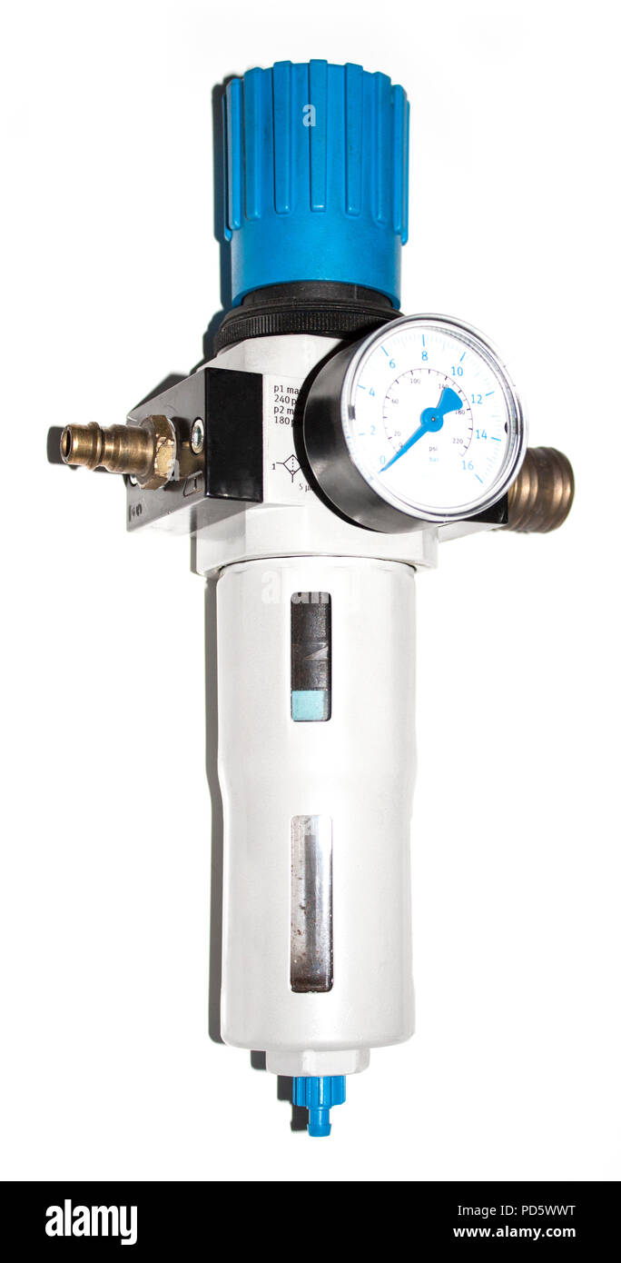 Isolated air pressure measuring device with bar scale and blue arrows on white background - Stock Image