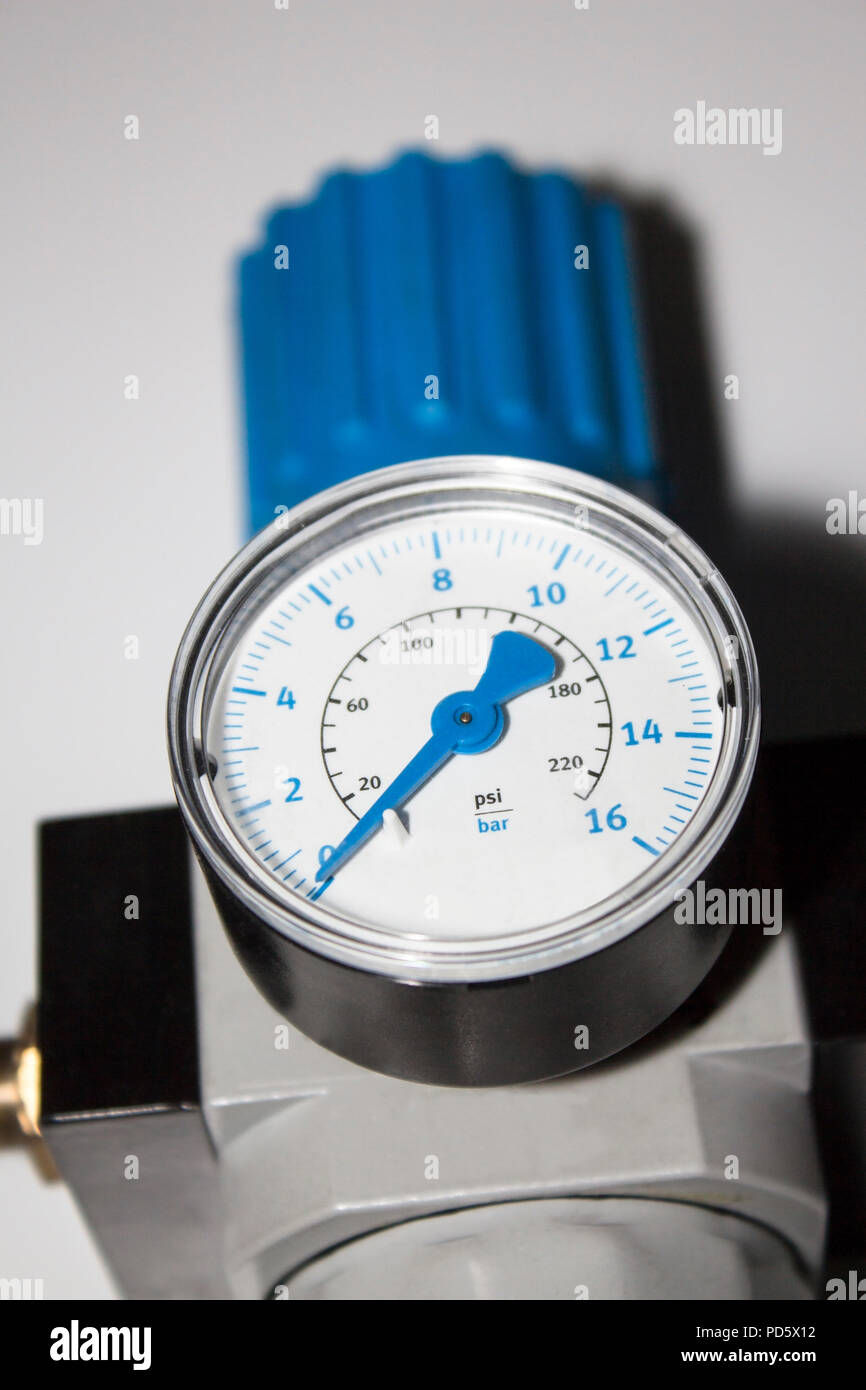Machine part bar barometer pressure air metering scale in bar device isolated with white background for industrial use - Stock Image
