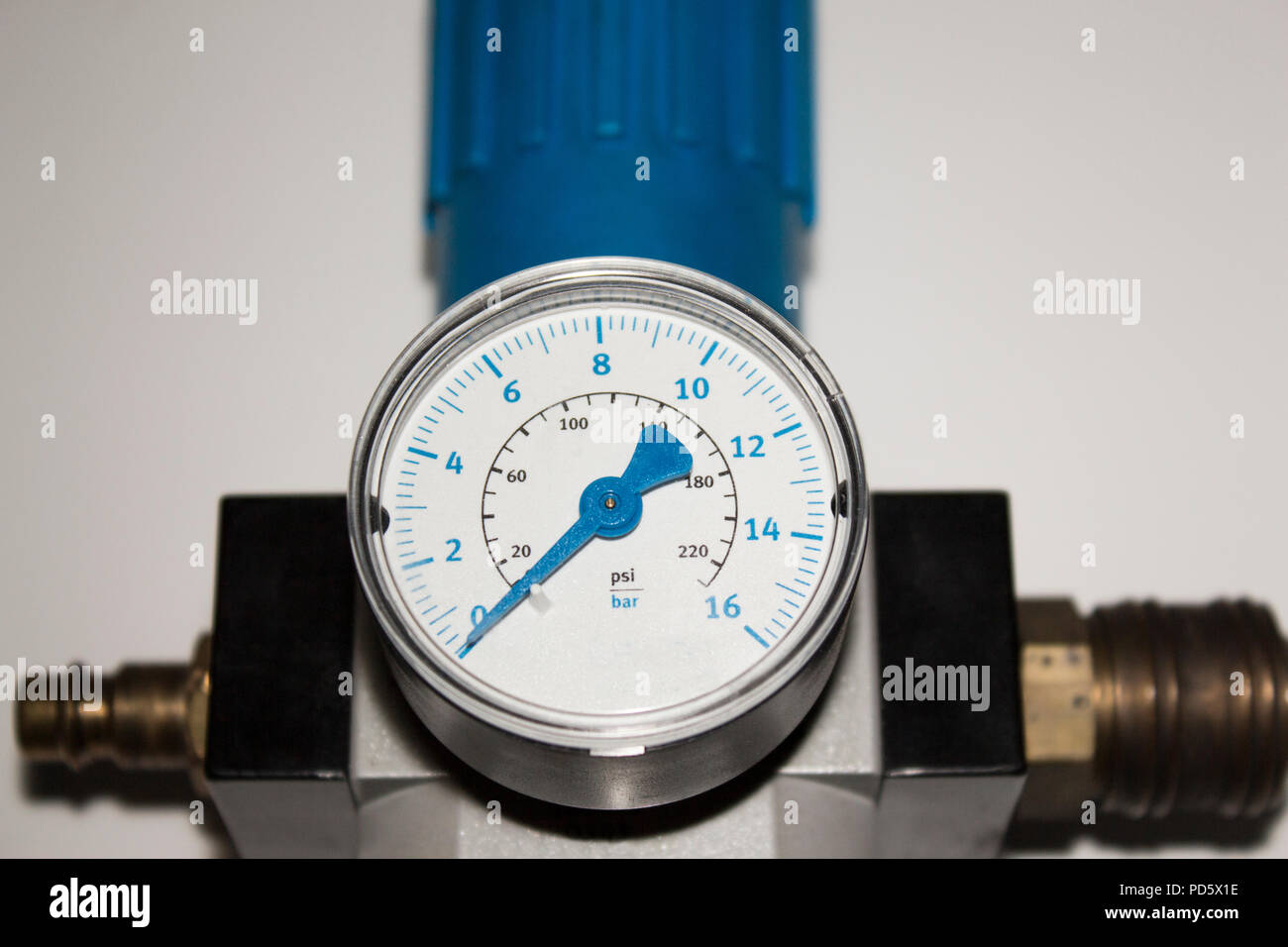 Machine part bar barometer pressure air metering scale with blue arrow in bar device isolated with white background machine - Stock Image