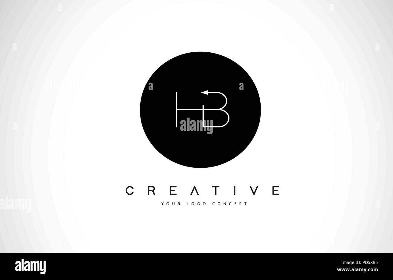 Hb H B Logo Design With Black And White Creative Icon Text Letter