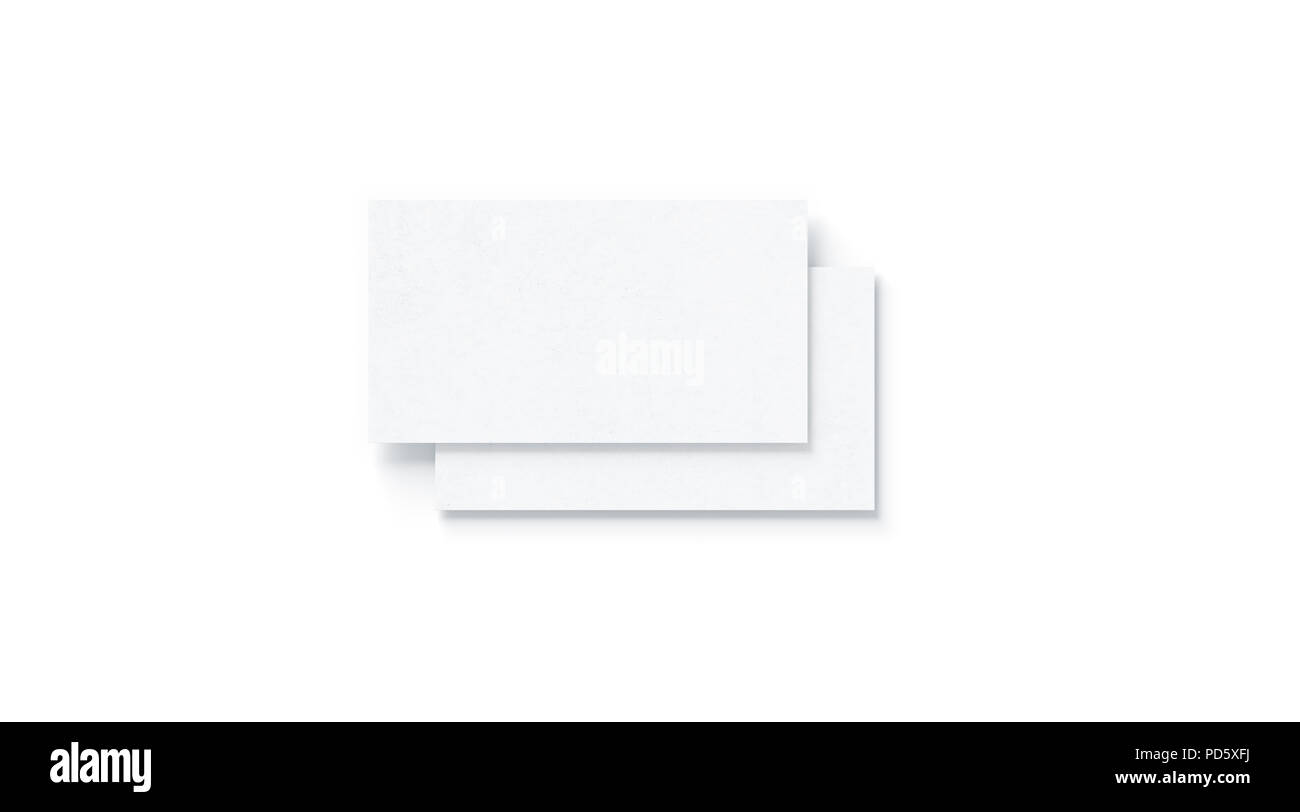 Blank white two horizontal business cards mock up, isolated, 3d rendering. Empty namecard on each other mockup, top view. Calling papersheet template for company name, phone number, email address. - Stock Image