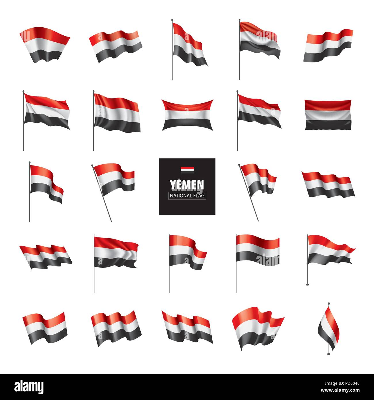 Yemeni flag, vector illustration Stock Vector