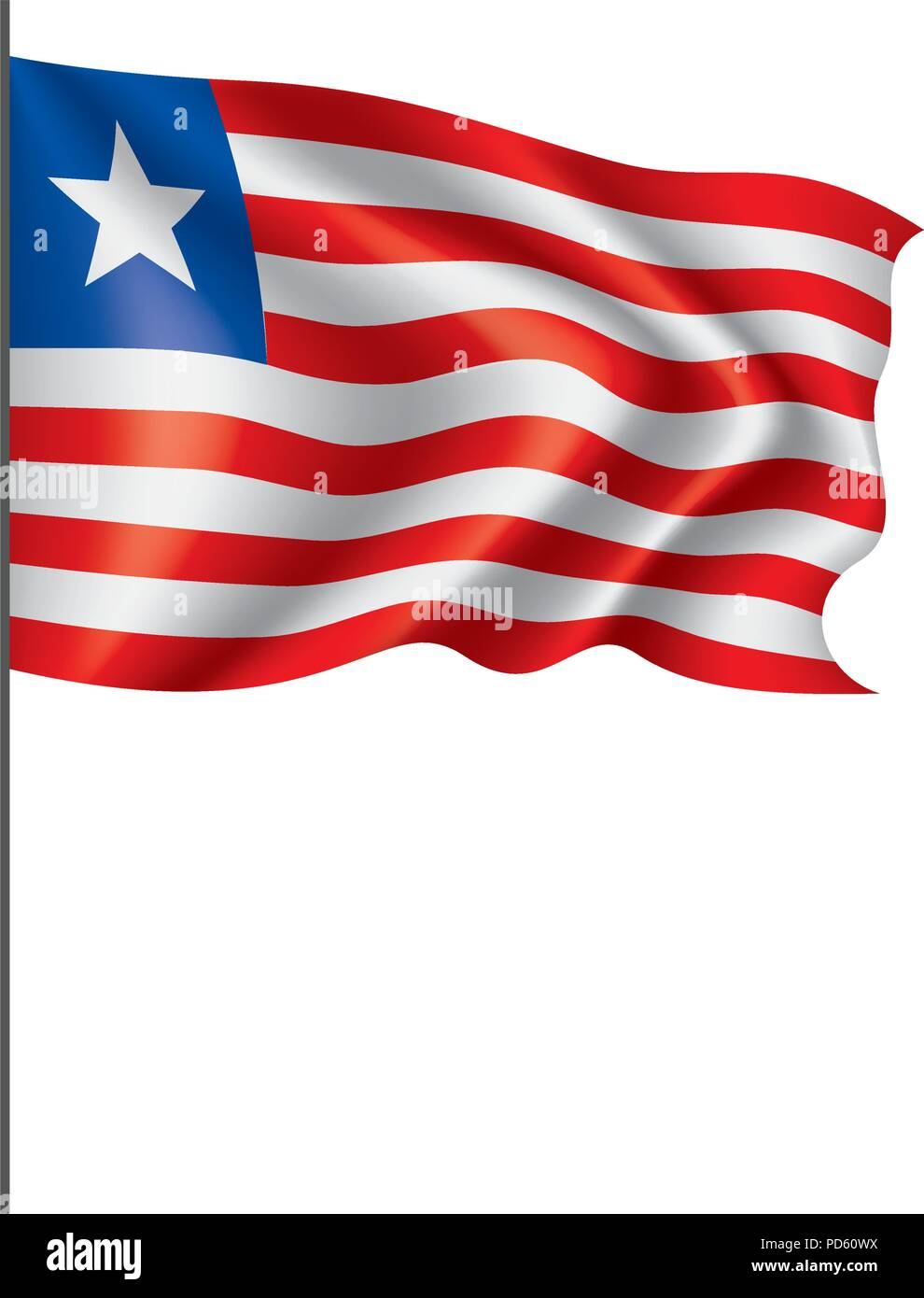 Liberia flag, vector illustration - Stock Image