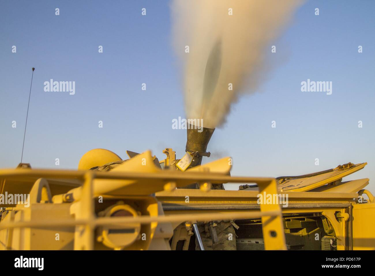 Headquarters Company, 1st Battalion, 155th Infantry Regiment, 155th Armored Brigade Combat Team, Mississippi Army National Guard conducts a mortar live fire training exercise at a range near Camp Buehring, Kuwait, on Aug. 5, 2018, August 5, 2018. (U.S. Army National Guard photo illustration by Spc. Jovi Prevot). () - Stock Image