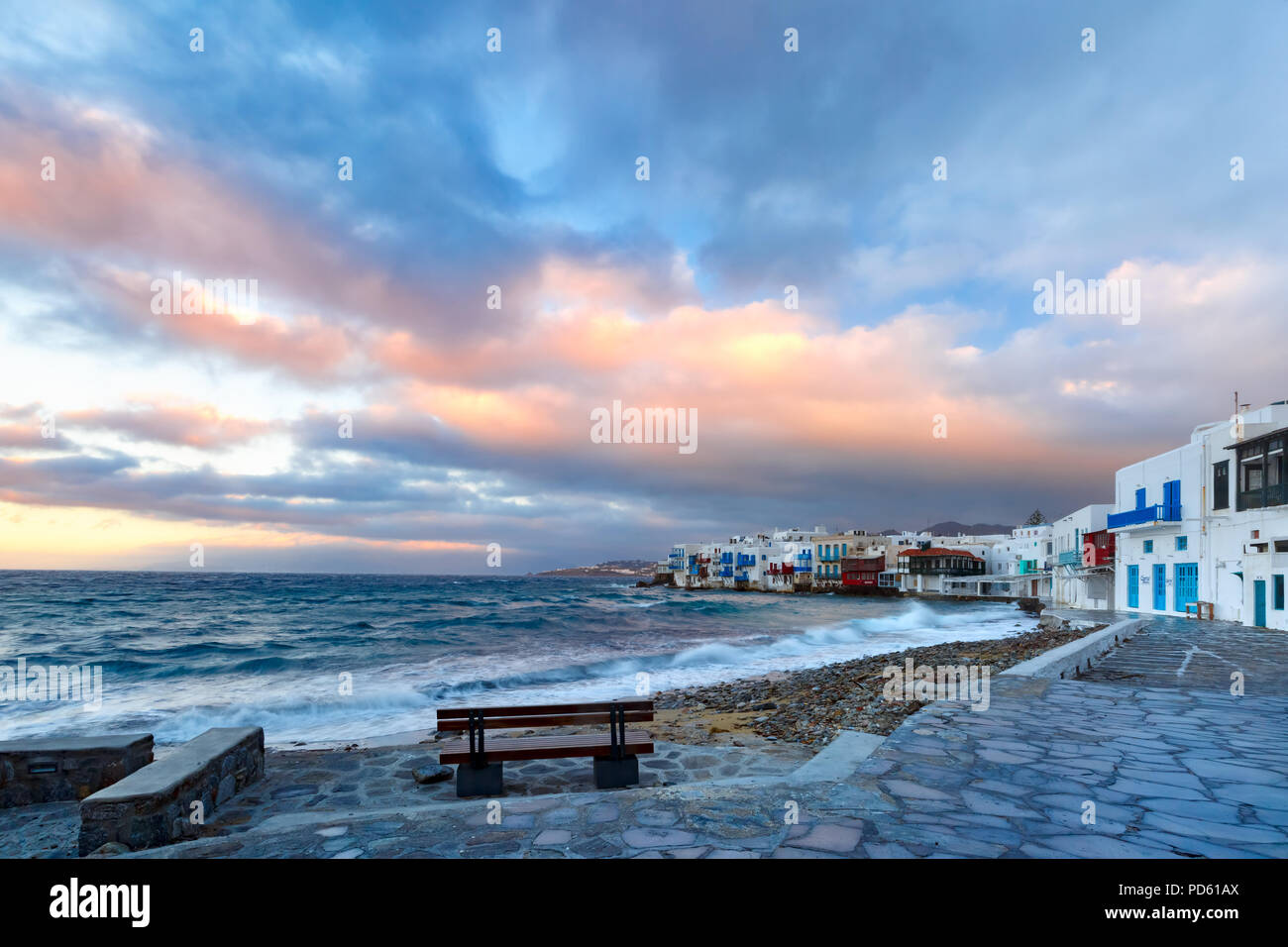 Little Venice on island Mykonos, Greece Stock Photo