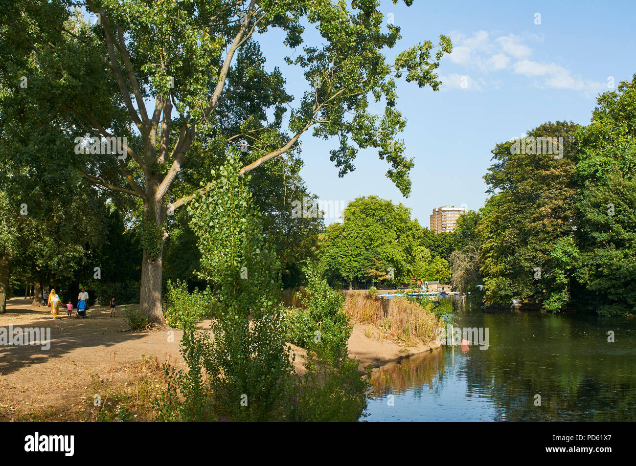 Victoria Park and lake in London's East End, in early August, during the 2018 heatwave - Stock Image