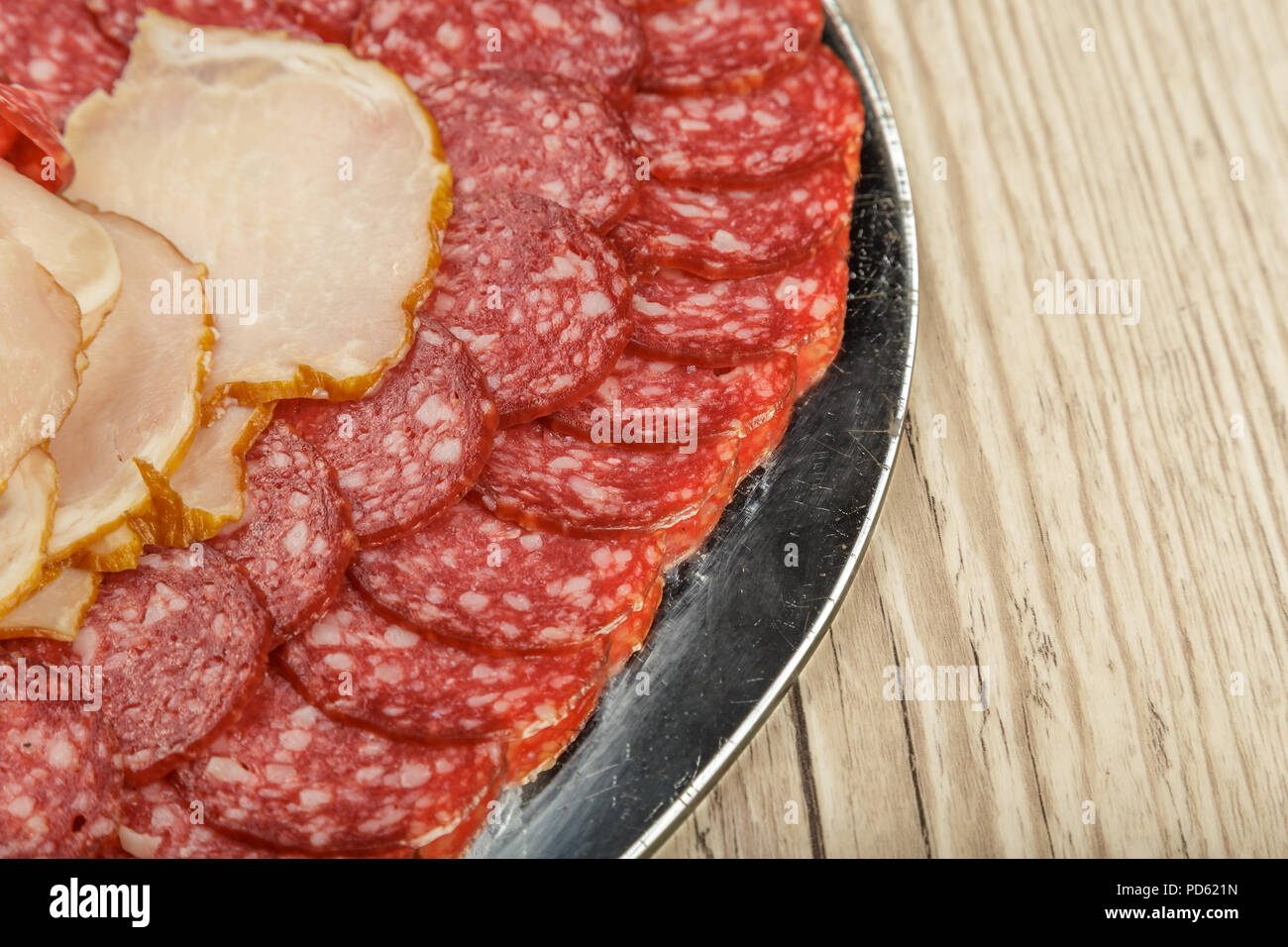 Sausage cuts of different varieties on a plate. Stock Photo
