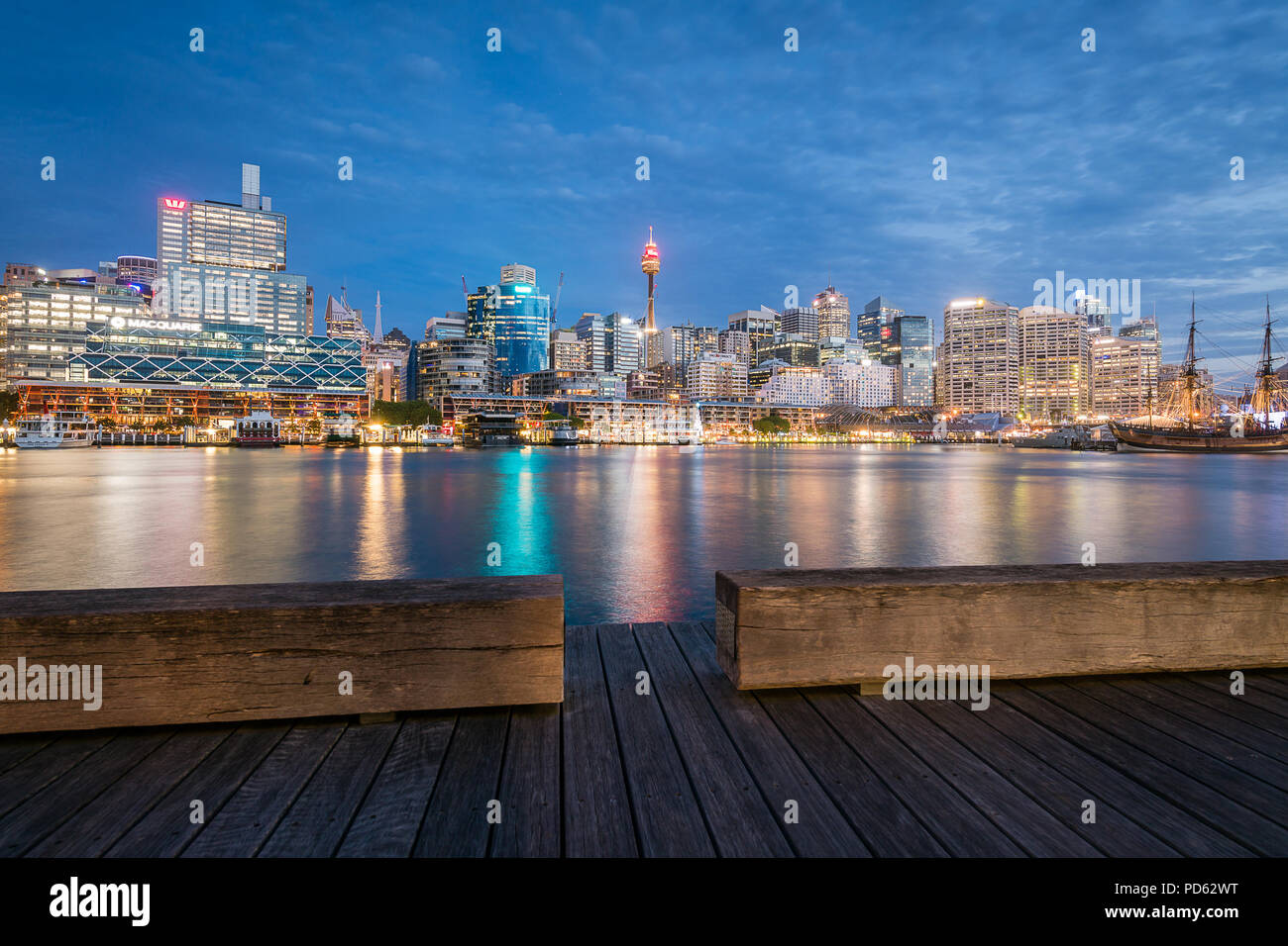 Darling Harbour at Night - Stock Image