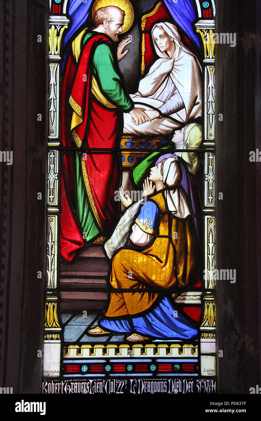 Stained glass by William Warrington at the Church of the Ascension in Timoleague - Stock Image