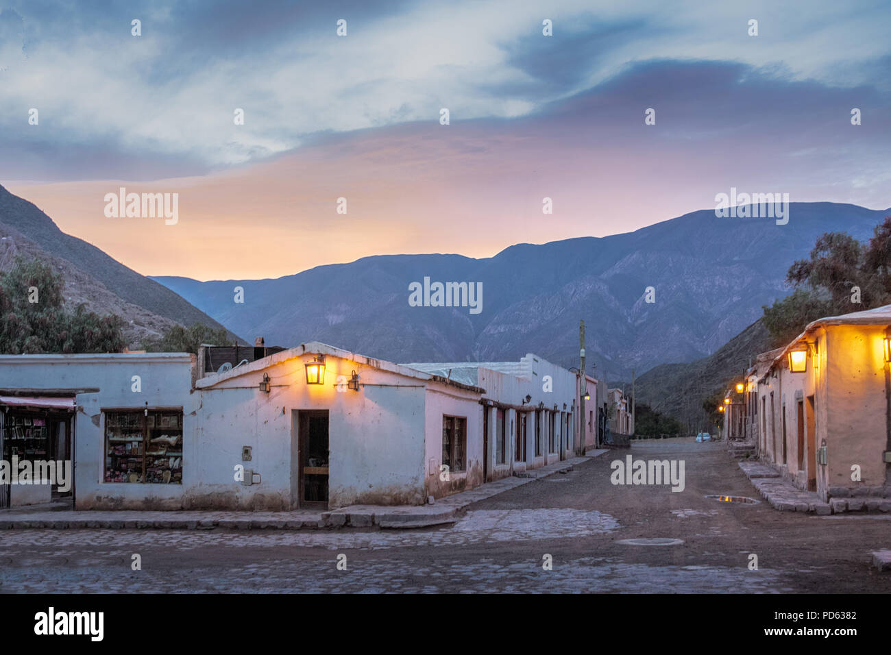 Purmamarca town at night - Purmamarca, Jujuy, Argentina - Stock Image
