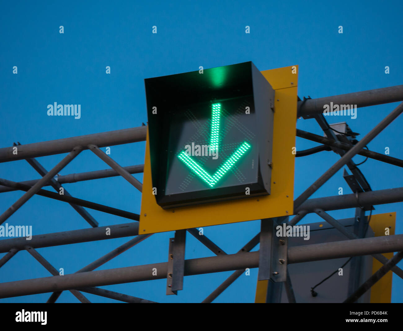 Green arrow on a bridge, Montreal, Canada - Stock Image