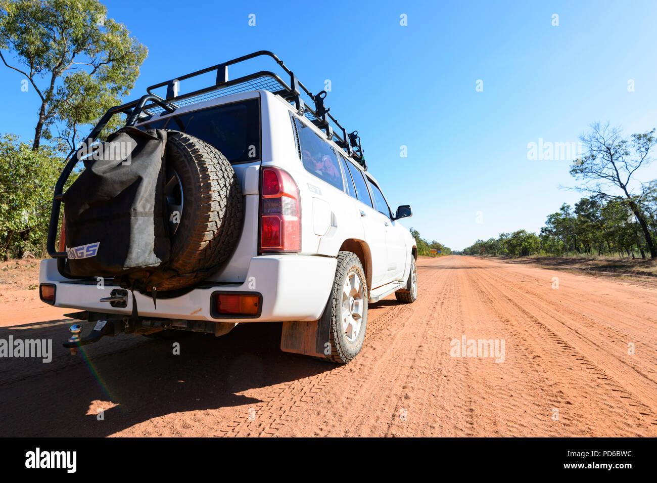 4X4 Nissan Patrol on the corrugated Peninsula Development Road (PDR), Cape York Peninsula, Far North Queensland, FNQ, QLD, Australia - Stock Image